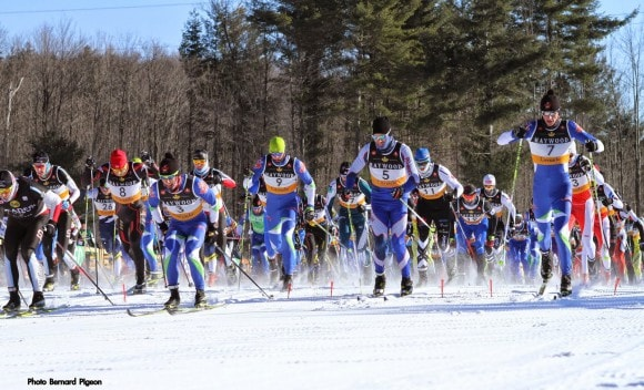 Russell at the start of the 15km classic Credit: Bernard Pigeon